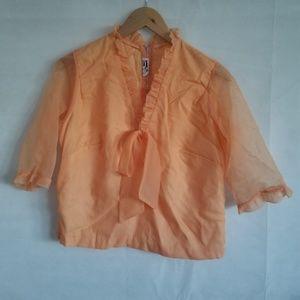 1970s Frank Lee of California Pale Orange Blouse